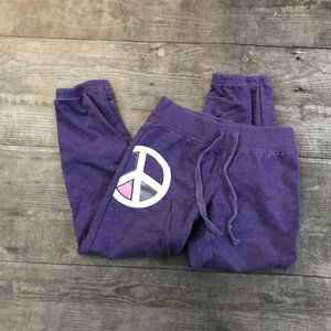 Girl's Old Navy Purple Peace Sign Joggers XS 5
